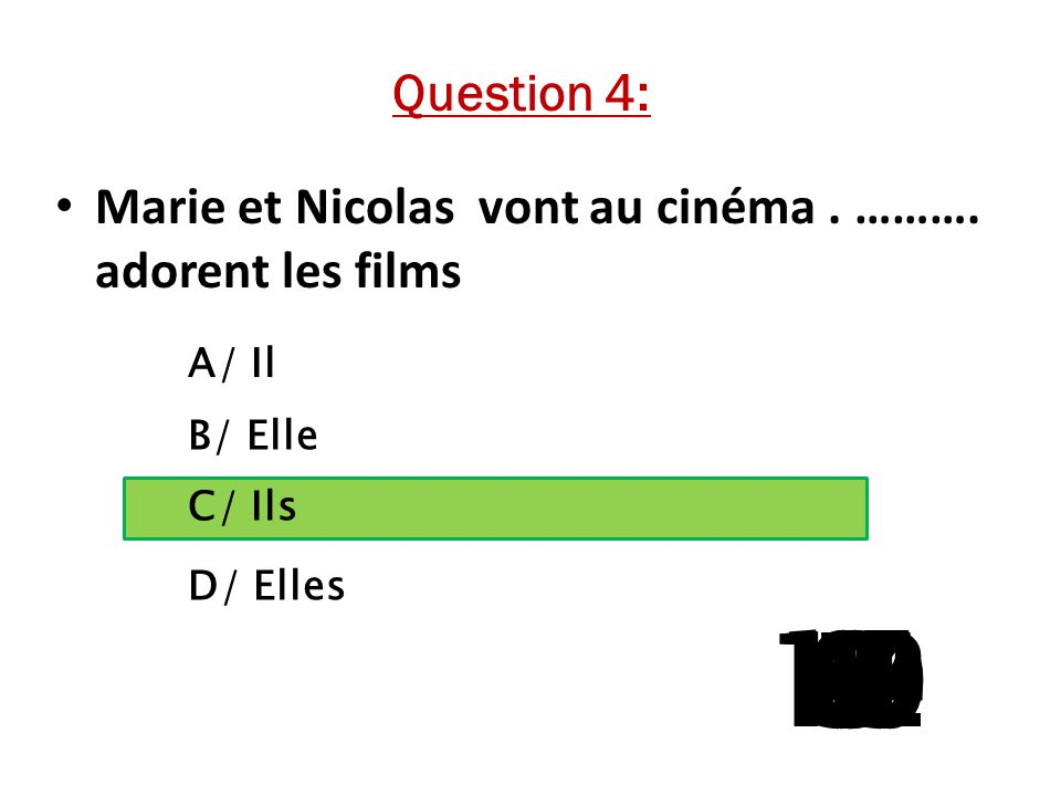 Question 4: Marie et Nicolas vont au cinéma . ………. adorent les films. A/ Il. B/ Elle. C/ Ils. D/ Elles.