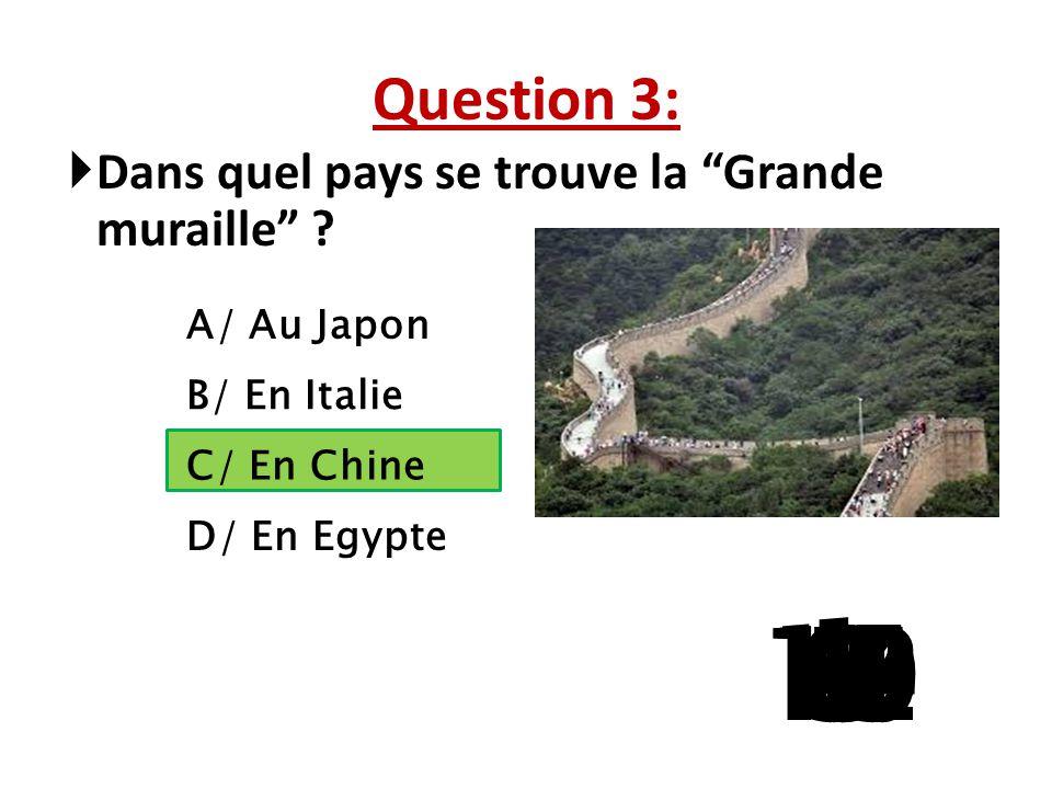 Question 3: Dans quel pays se trouve la Grande muraille A/ Au Japon. B/ En Italie. C/ En Chine.