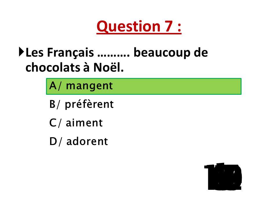 Question 7 : Les Français ………. beaucoup de chocolats à Noël. A/ mangent. B/ préfèrent. C/ aiment.
