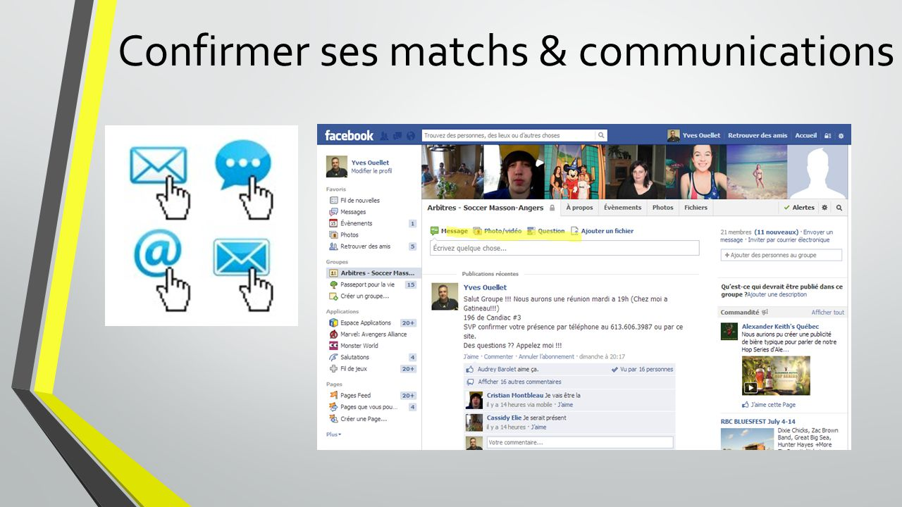Confirmer ses matchs & communications
