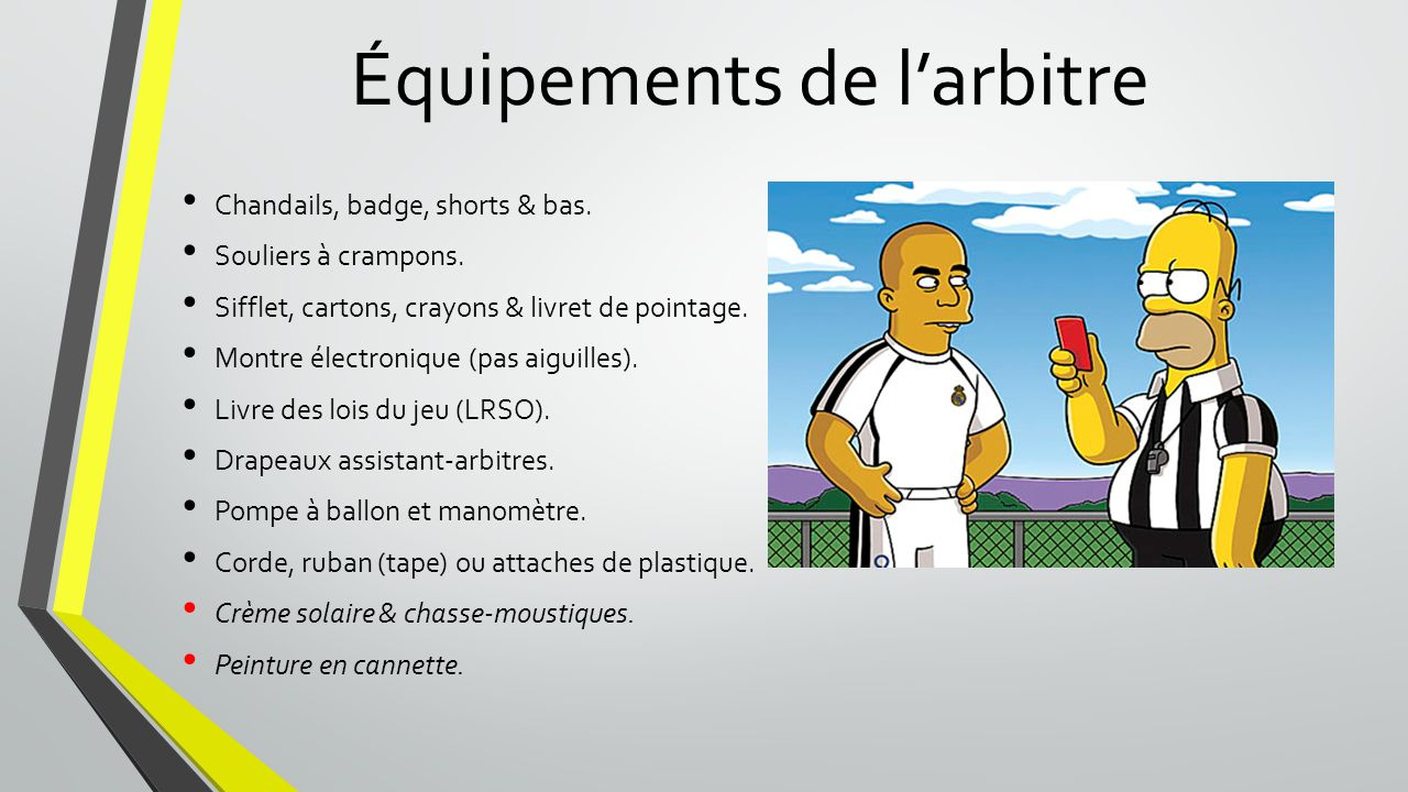 Équipements de l'arbitre
