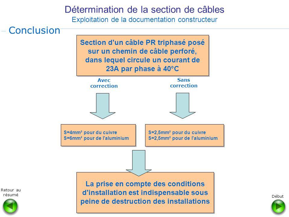 Détermination de la section de câbles Exploitation de la documentation constructeur