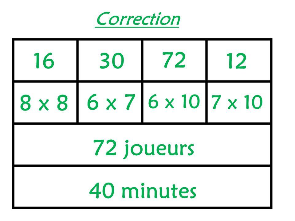 Correction 16 30 72 12 8 x 8 6 x 7 6 x 10 7 x 10 72 joueurs 40 minutes
