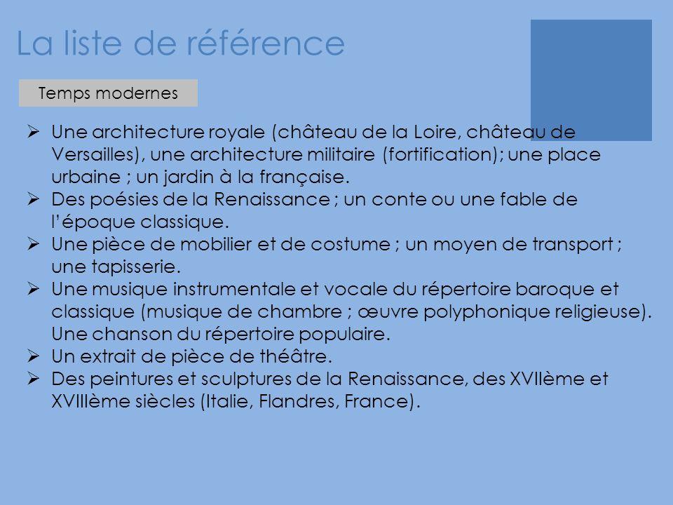 La liste de référence Temps modernes.