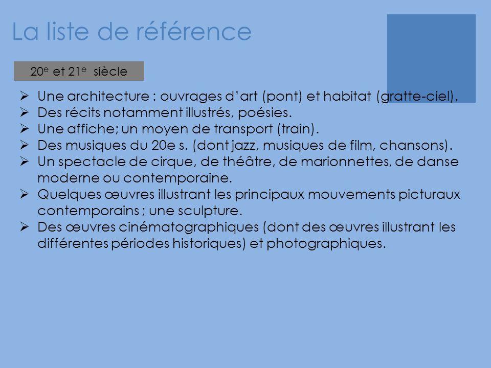 La liste de référence 20e et 21e siècle. Une architecture : ouvrages d'art (pont) et habitat (gratte-ciel).