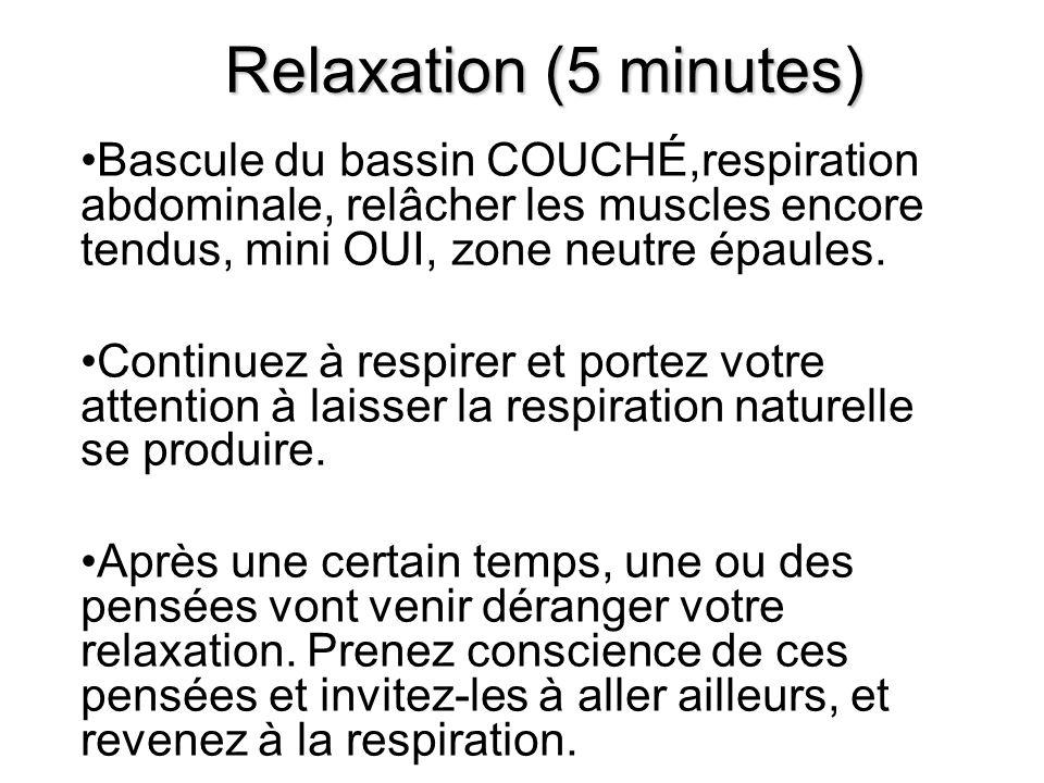 Relaxation (5 minutes) Bascule du bassin COUCHÉ,respiration abdominale, relâcher les muscles encore tendus, mini OUI, zone neutre épaules.