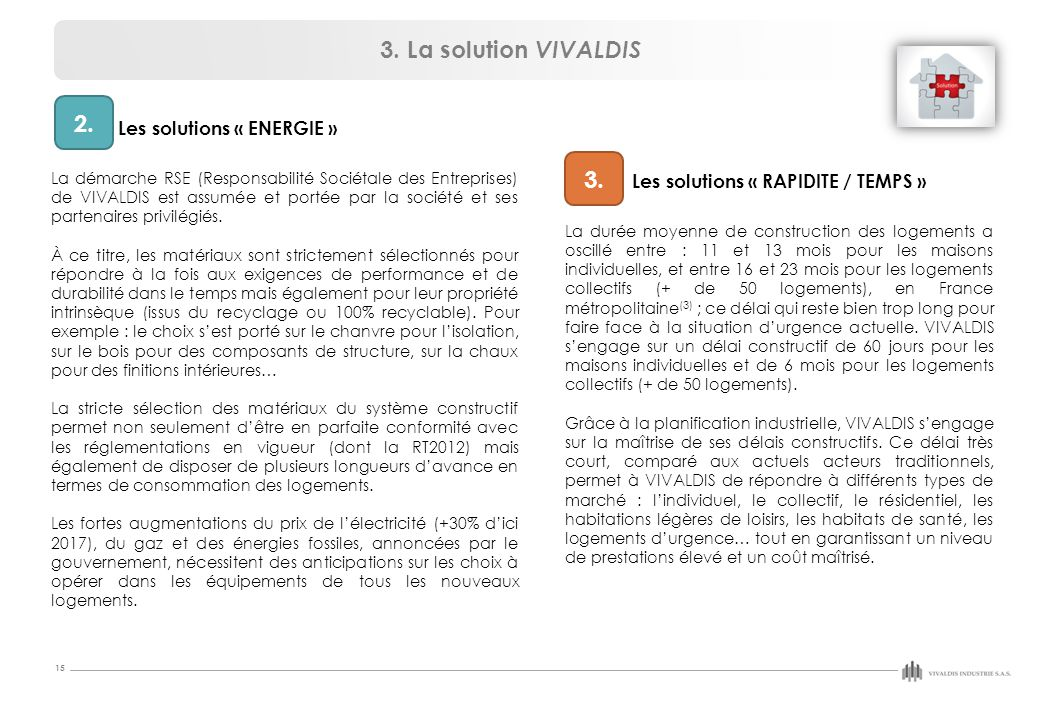3. La solution VIVALDIS 2. 3. Les solutions « RAPIDITE / TEMPS »