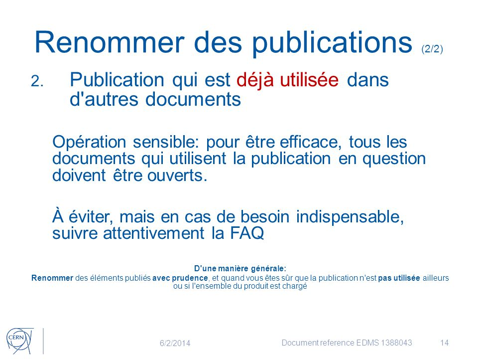 Renommer des publications (2/2)