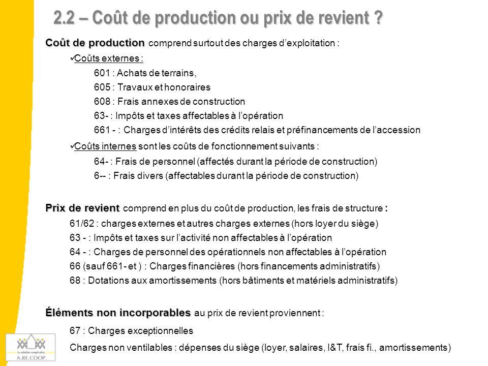 2.2 – Coût de production ou prix de revient