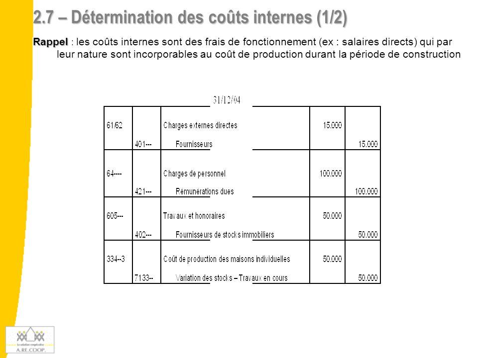 2.7 – Détermination des coûts internes (1/2)
