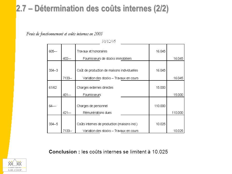 2.7 – Détermination des coûts internes (2/2)