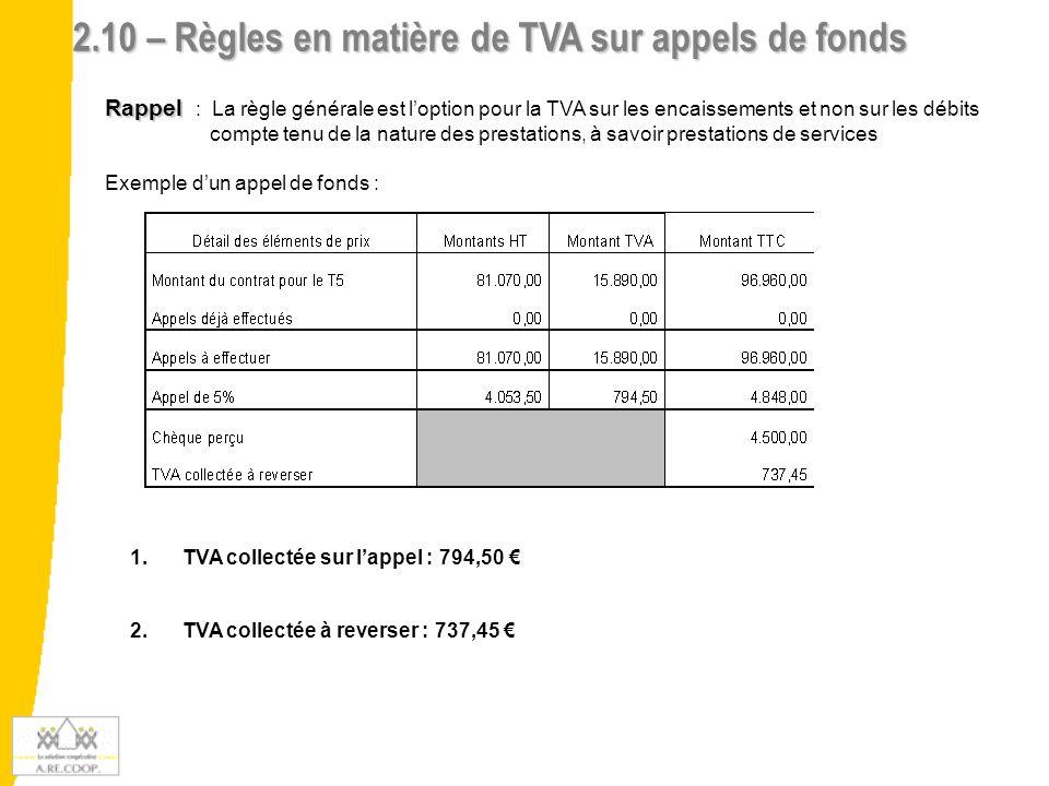 2.10 – Règles en matière de TVA sur appels de fonds
