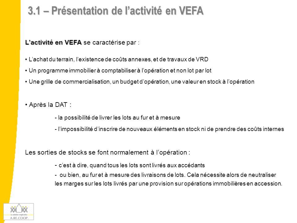 3.1 – Présentation de l'activité en VEFA