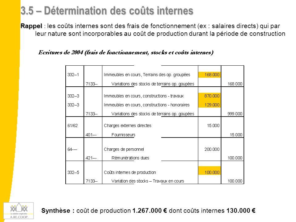 3.5 – Détermination des coûts internes