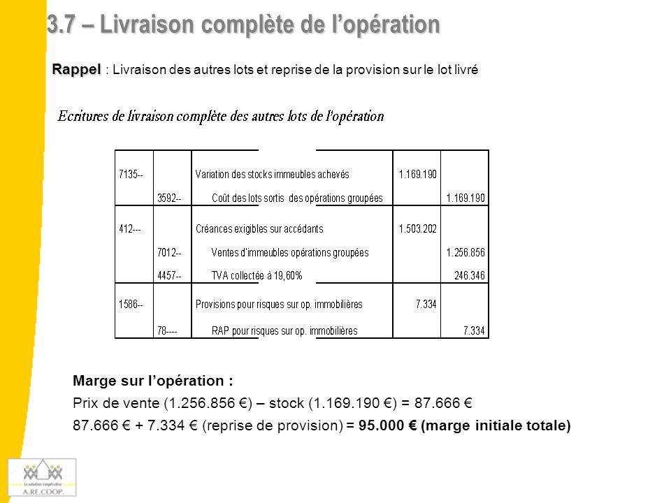 3.7 – Livraison complète de l'opération