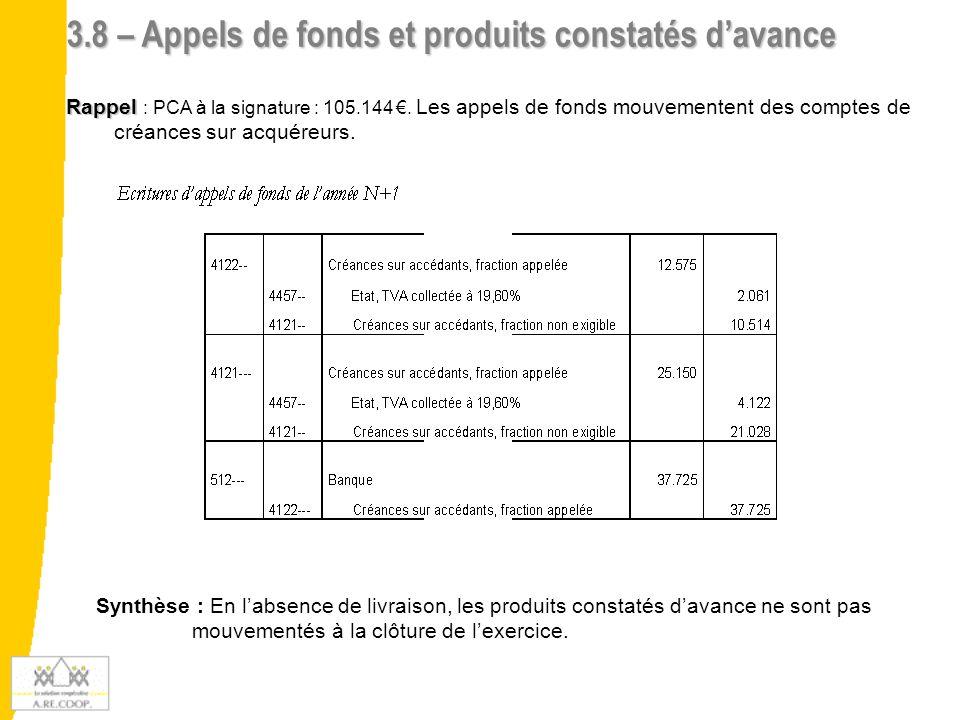3.8 – Appels de fonds et produits constatés d'avance