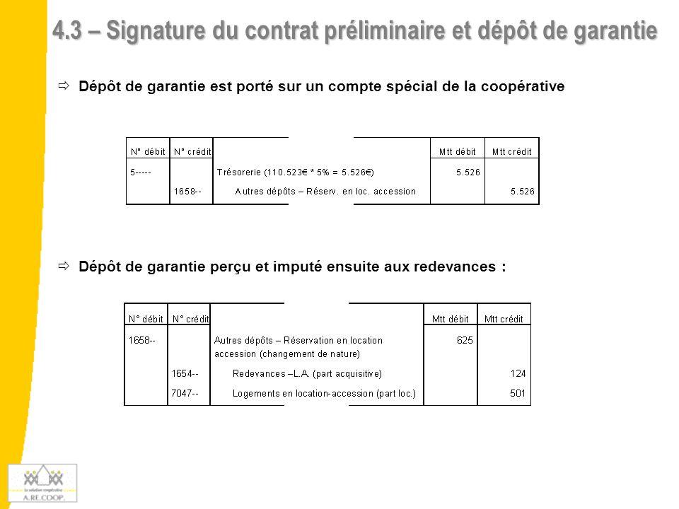 4.3 – Signature du contrat préliminaire et dépôt de garantie