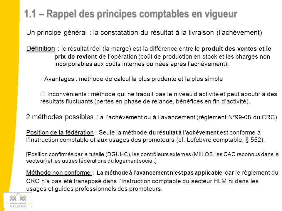 1.1 – Rappel des principes comptables en vigueur