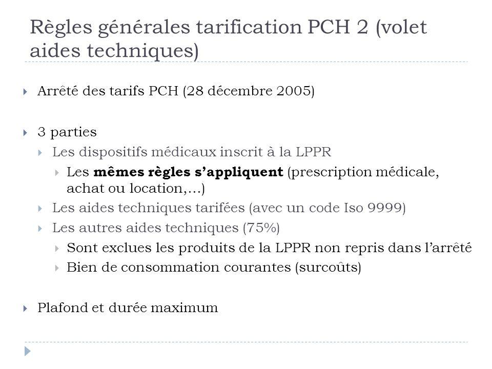 Règles générales tarification PCH 2 (volet aides techniques)