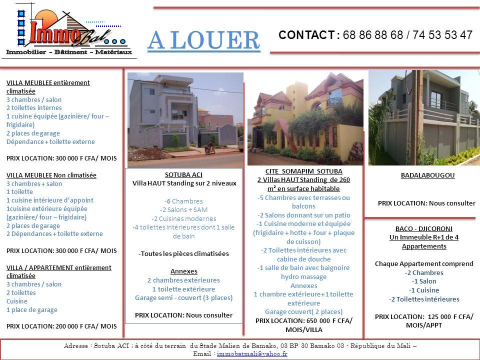 Immobilier - Bâtiment - Matériaux A LOUER