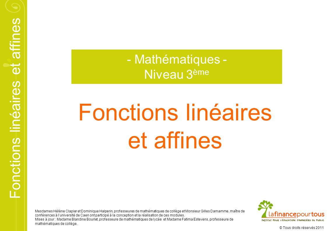 Fonctions linéaires et affines - Mathématiques - Niveau 3ème