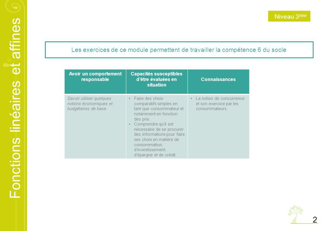 Niveau 3ème Les exercices de ce module permettent de travailler la compétence 6 du socle. Avoir un comportement responsable.