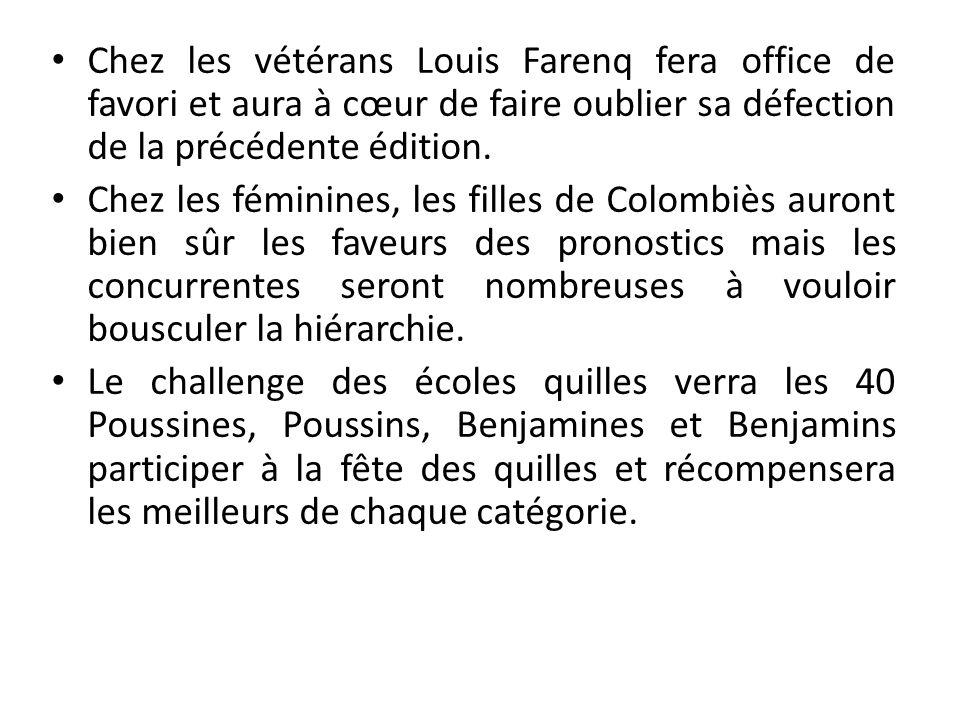 Chez les vétérans Louis Farenq fera office de favori et aura à cœur de faire oublier sa défection de la précédente édition.