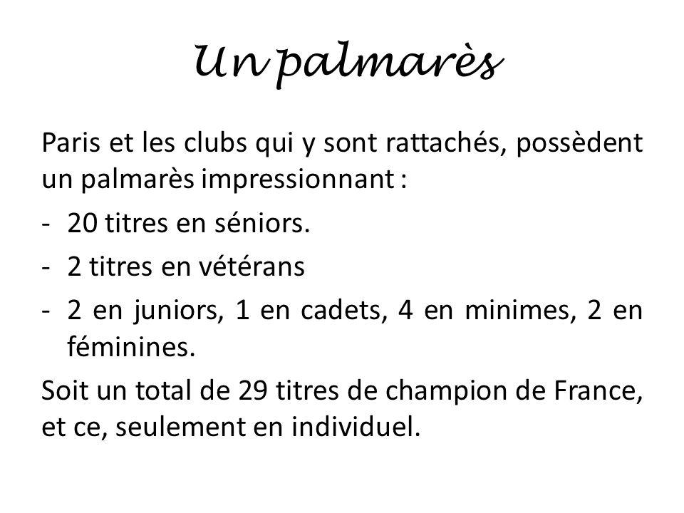Un palmarès Paris et les clubs qui y sont rattachés, possèdent un palmarès impressionnant : 20 titres en séniors.