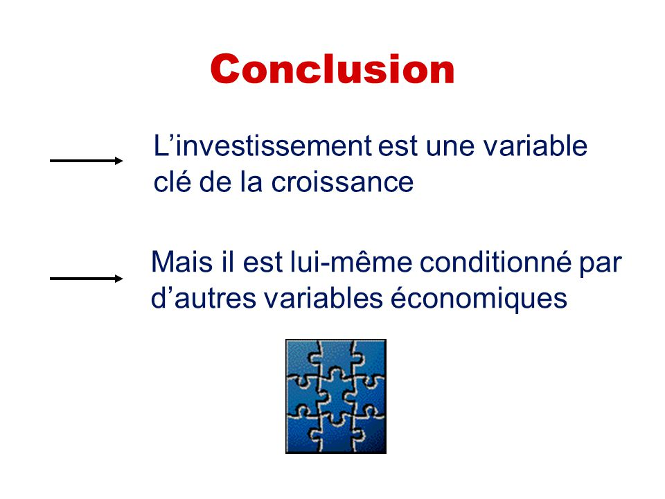 Conclusion L'investissement est une variable clé de la croissance