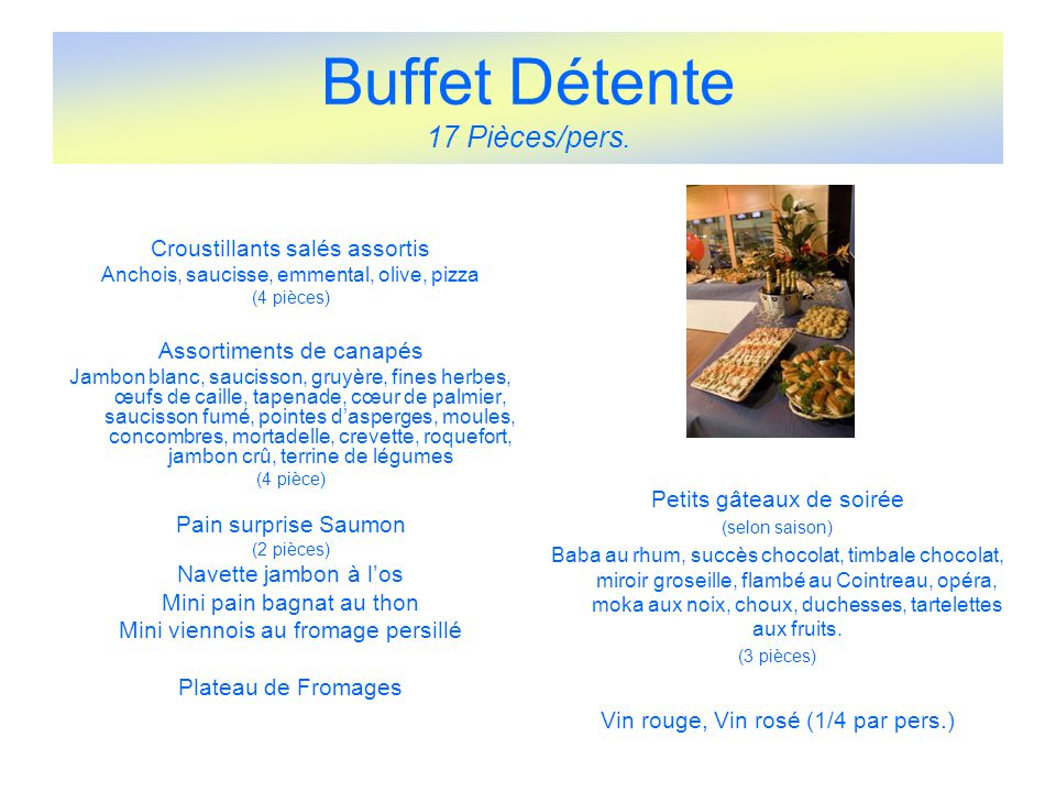 Buffet Détente 17 Pièces/pers.