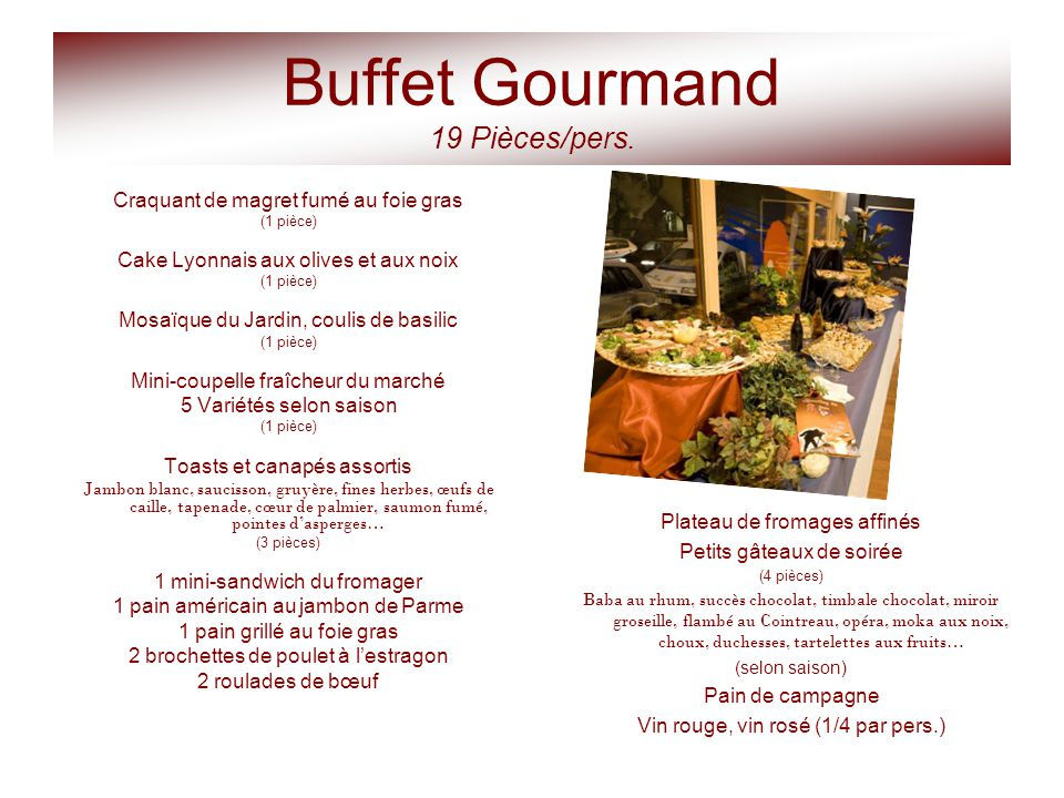Buffet Gourmand 19 Pièces/pers.