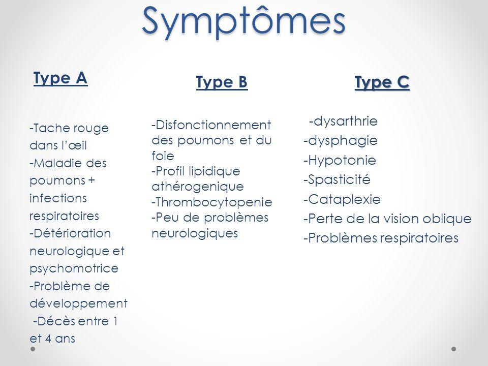 Symptômes Type A Type B Type C -dysarthrie -dysphagie -Hypotonie