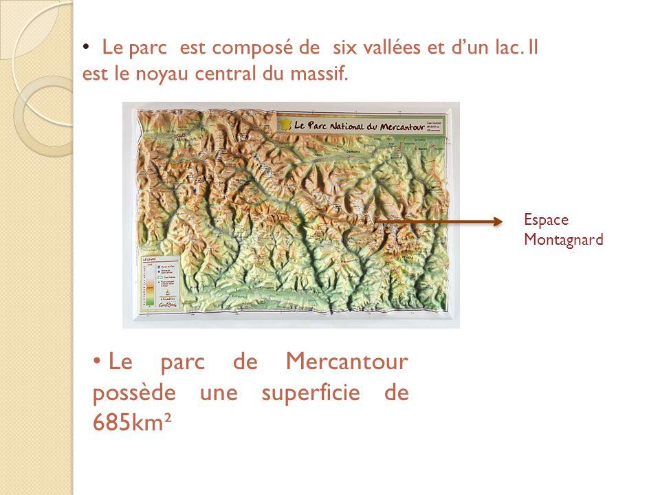 Le parc de Mercantour possède une superficie de 685km²