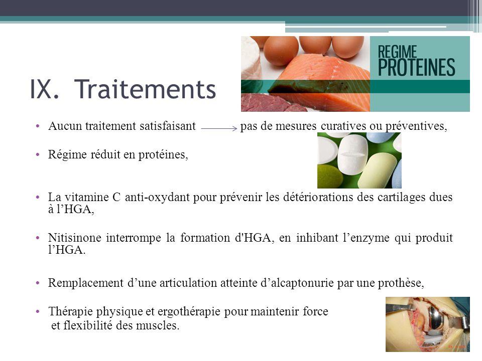 Traitements Aucun traitement satisfaisant pas de mesures curatives ou préventives, Régime réduit en protéines,
