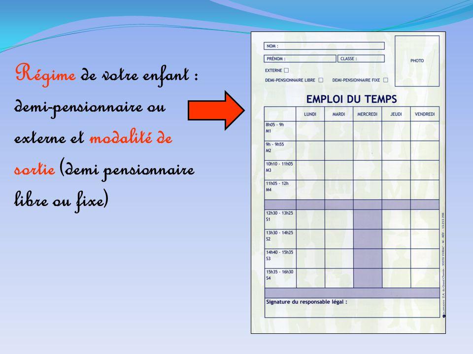 Régime de votre enfant : demi-pensionnaire ou externe et modalité de sortie (demi pensionnaire libre ou fixe)