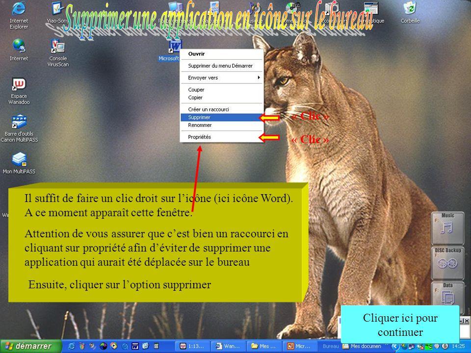 Supprimer une application en icône sur le bureau