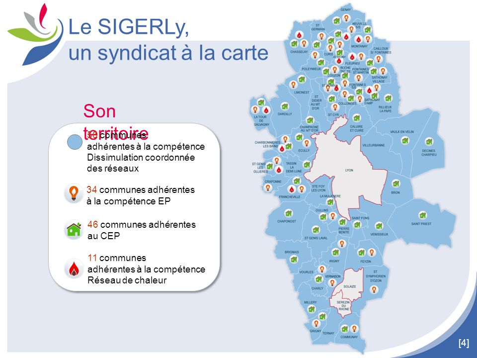 Le SIGERLy, un syndicat à la carte Son territoire 56 communes