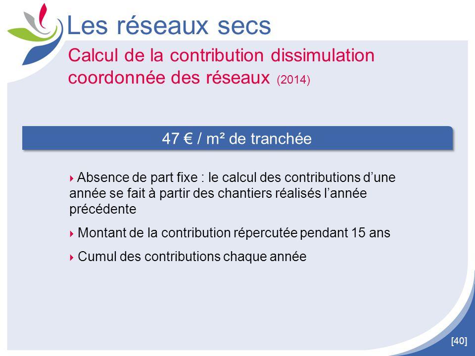Les réseaux secs Calcul de la contribution dissimulation coordonnée des réseaux (2014) 47 € / m² de tranchée.