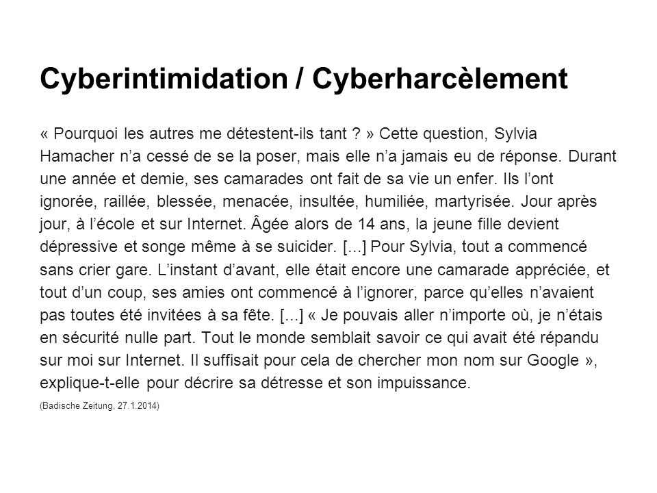 Cyberintimidation / Cyberharcèlement