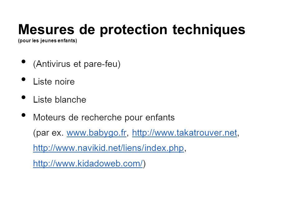 Mesures de protection techniques (pour les jeunes enfants)