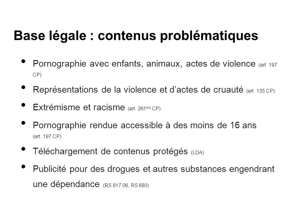 Base légale : contenus problématiques