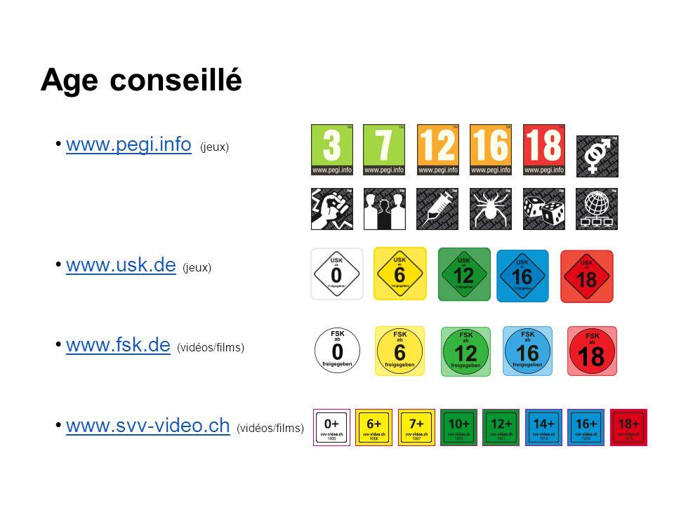 Age conseillé www.pegi.info (jeux) www.usk.de (jeux)
