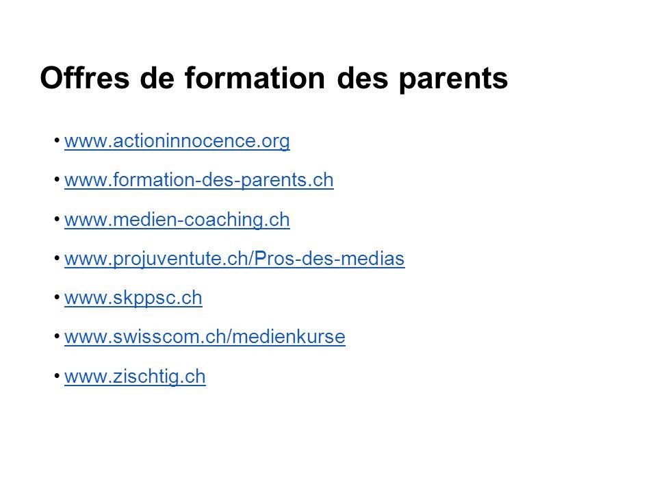 Offres de formation des parents