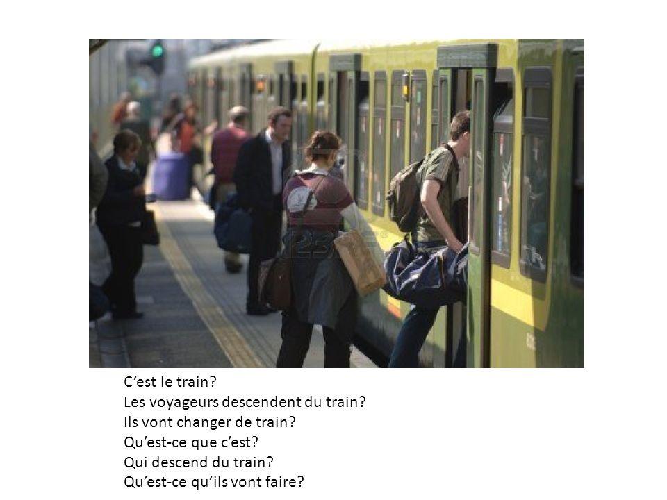 C'est le train Les voyageurs descendent du train Ils vont changer de train Qu'est-ce que c'est