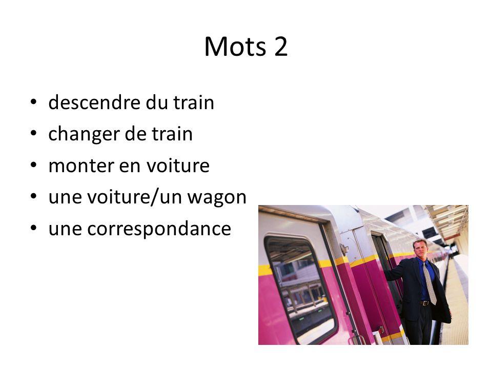 Mots 2 descendre du train changer de train monter en voiture