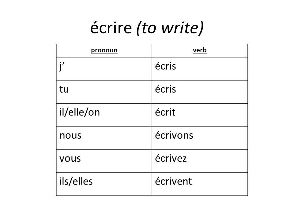 écrire (to write) j' écris tu il/elle/on écrit nous écrivons vous