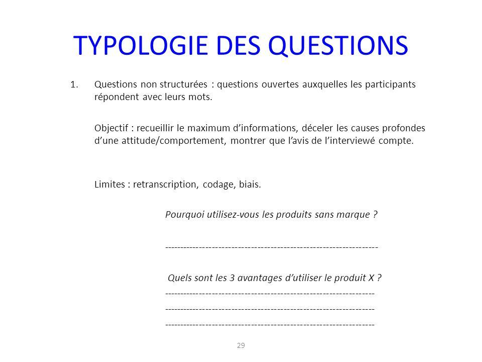 TYPOLOGIE DES QUESTIONS