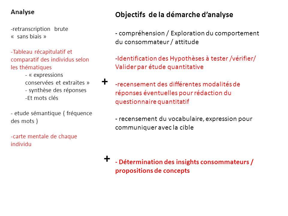 + + Objectifs de la démarche d'analyse Analyse
