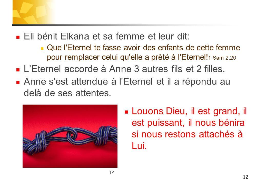 Eli bénit Elkana et sa femme et leur dit: