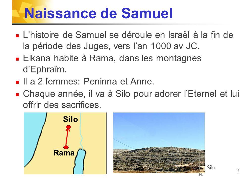 Naissance de Samuel L'histoire de Samuel se déroule en Israël à la fin de la période des Juges, vers l'an 1000 av JC.